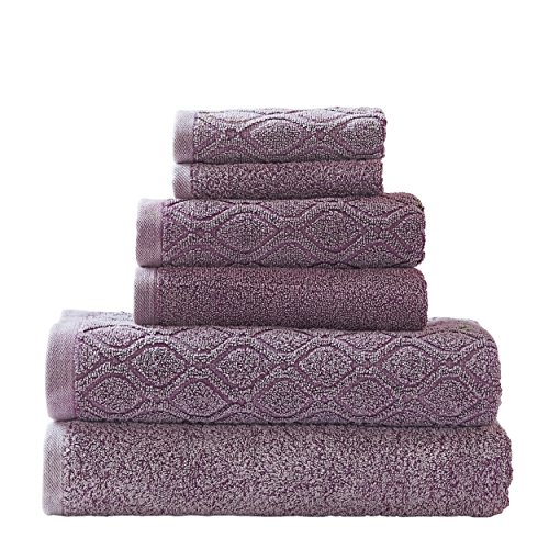 Wash Fig - Superior 100% Cotton Denim Wash 6-Piece Towel Set, Solid and Geometric Diamond Jacquard Terry, Thick, Plush and Highly Absorbent, 2 Bath Towels, 2 Hand Towels, 2 Wash Cloths - Fig