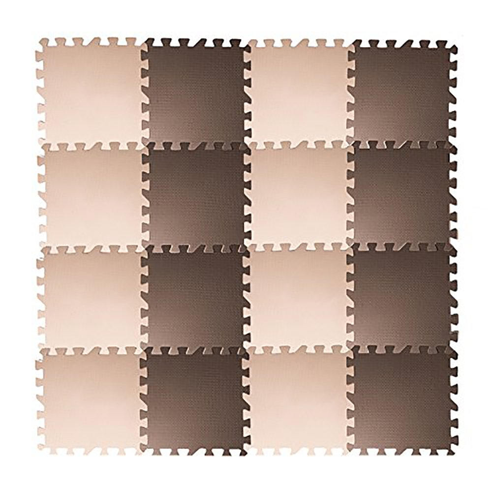 Tebery EVA Foam Puzzle Mat, 16 Tiles (16 tiles = 16 sq.ft) Interlocking Floor Tiles with 16 Borders - Beige and Brown