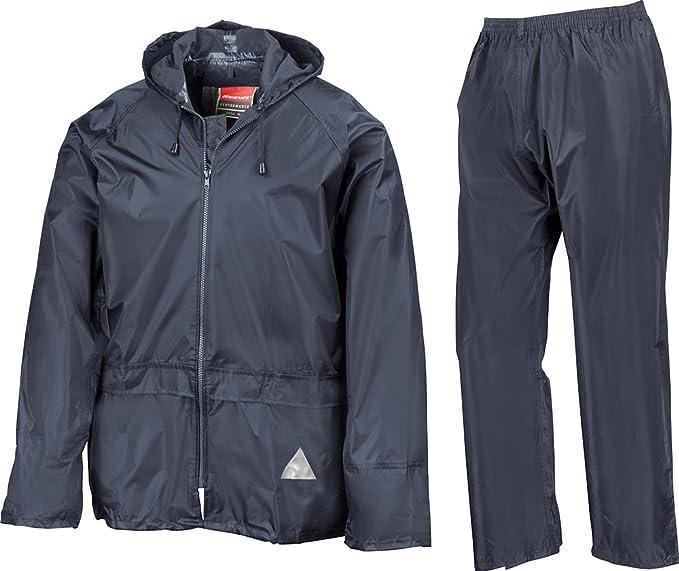 (Small, Navy) - Result Heavyweight Waterproof Jacket/Trouser Suit Adult Windproof Coat