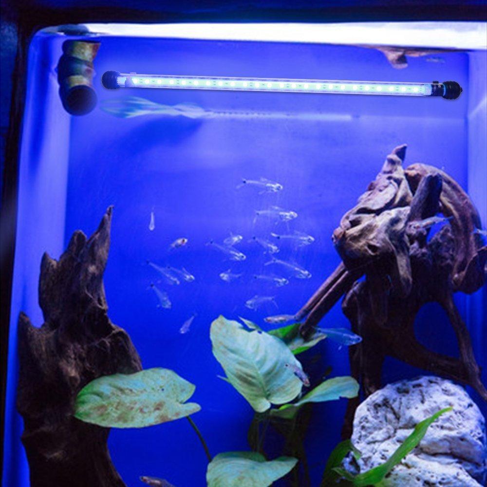 Glighone Lámpara de Acuario 24 LED 5W 12 RGB Color Luces para Peceras y Estanques Luz para Plantas Sumergible Luces para Peceras y Estanques, Enchufe ...