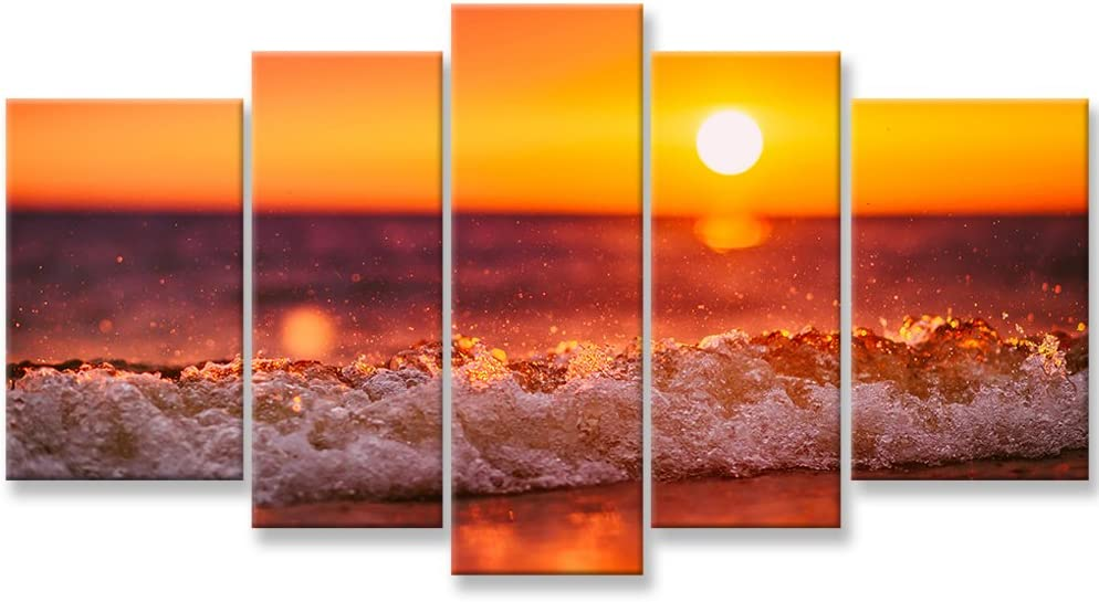 So Crazy Art- Red Ocean Wall Art Decor Sea Beach on Tropical Island at Sunset Canvas Pictures Artwork 5 Panel Seascape Painting Prints for Home Living Dining Room Kitchen