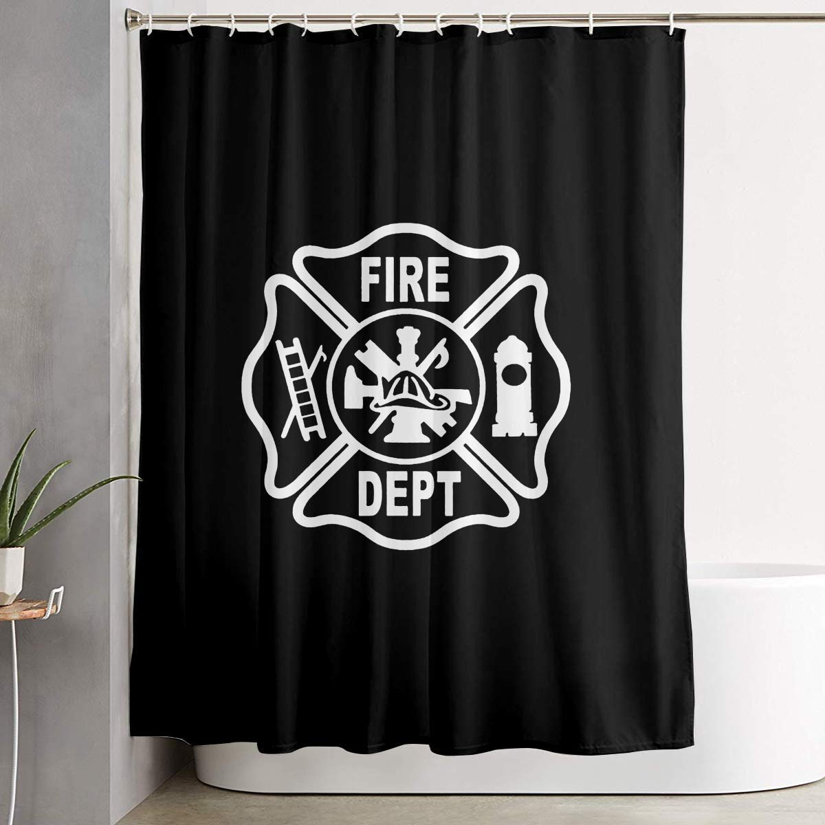 YING Fire Department Logo Firefighter Washroom Waterproof Fabric Polyester Shower Curtain Bath Curtain Decoration Home Decor Sets with Plastic Hooks 60x72 Inches