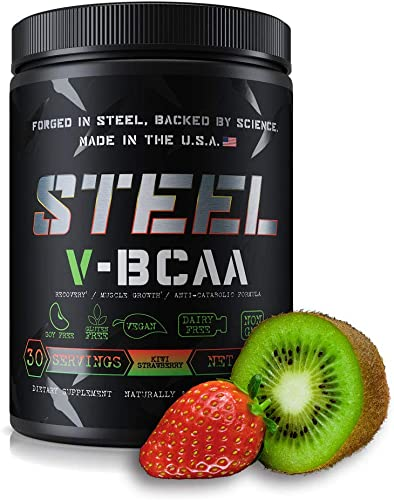 Steel Supplements V-BCAA Vegan High Performance BCAA Powder Soy Free, Gluten Free Build Lean Muscle, Burn Fat 30 Servings Kiwi Strawberry