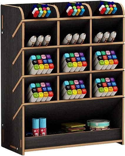 Organizador de escritorio de madera, caja de lápices de colores ...