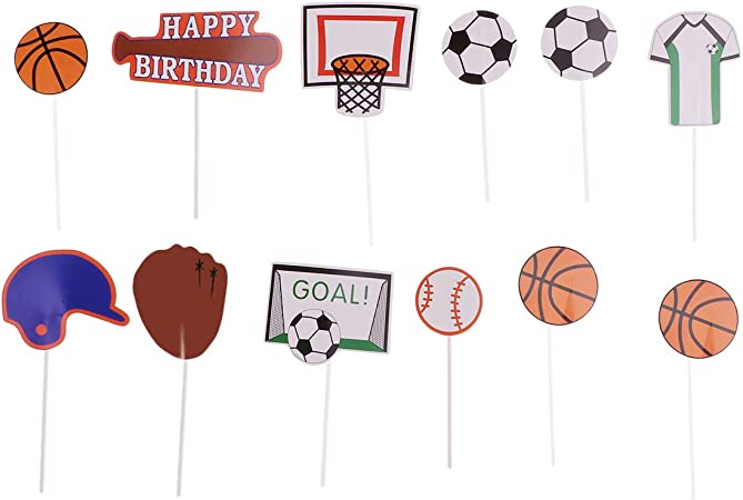 12x Soccer CUPCAKE TOPPER Pick Food World Cup Ball FIFA Party Supplies Lolly Bag