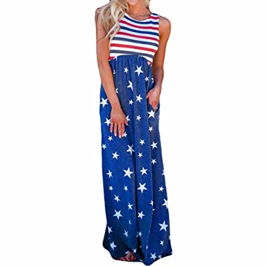 2734f7ab0fa7 July 4th Womens Dresses Women Casual Stars Striped Printed Sleeveless Scoop  Neck Summer Long Maxi Dresses