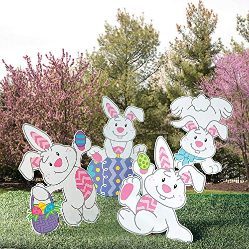 Fun Express - Tumbling Bunnies Yard Stakes for Easter - Party Decor - General Decor - Yard Signs - Easter - 4 Pieces