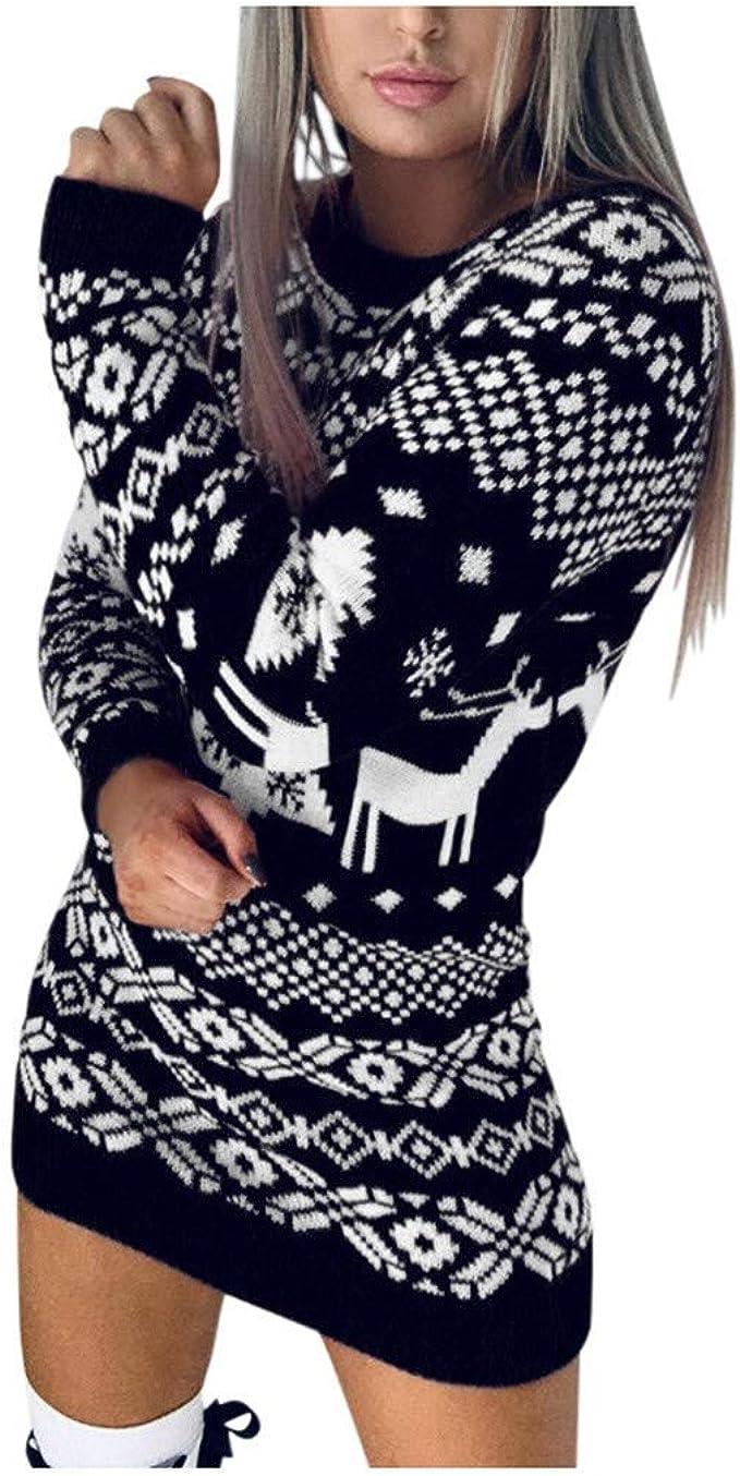 Womens Christmas Snowflake Printed Long Sleeve Turtleneck Sweater Dress ADESHOP Ladies Midi Dress