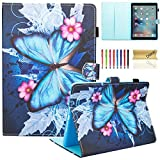 New iPad 2017/2018 Case, iPad 9.7' Cover, Dteck Lightweight Ultra Slim Stand PU Leather Smart Case with Auto Wake/Sleep for Apple All-New iPad 9.7 Inch 2017/2018 Release Tablet, Blue Butterfly