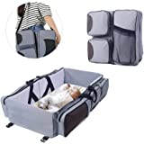 Navy Blue Cikuso Baby 3 in 1 Multi-Functional Diaper Bags Travel Bassinet Portable Bassinet /& Changing Pad Station