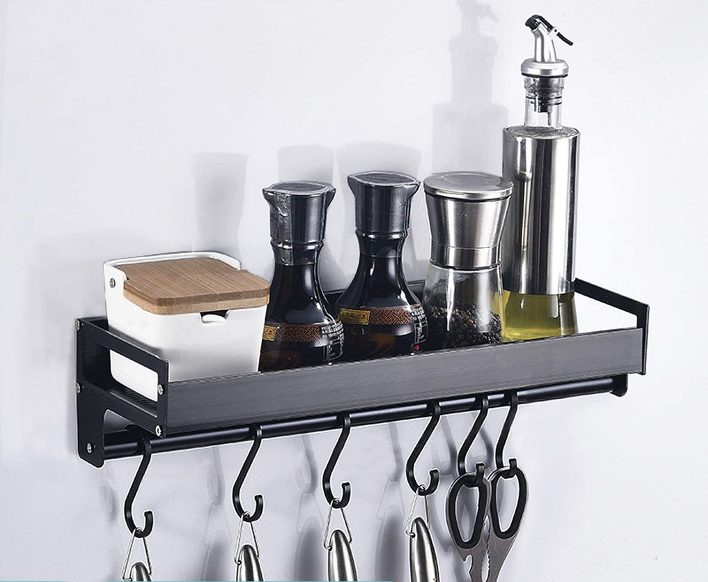 New Stainless Steel Wall Mount Shelf with Hooks spice rack Kitchen Commercial..