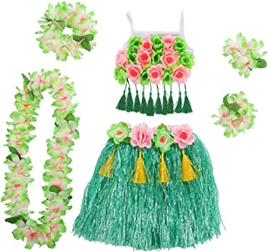 Kids Hula Grass Skirt, 6 uds. / Set Disfraces hawaianos para niños ...