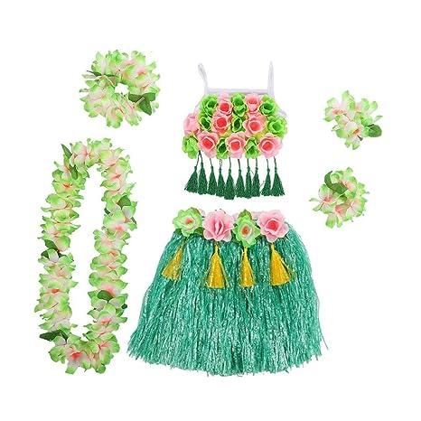 Fancylande Disfraz de Mujer Hawaiana 6 en 1, Disfraz de ...