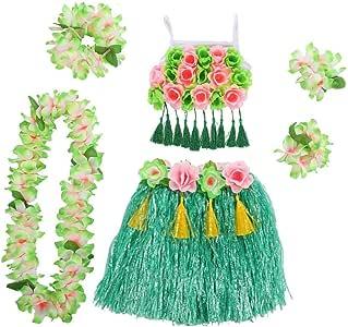 Fancylande Disfraz de Mujer Hawaiana 6 en 1, Disfraz de fantasía ...