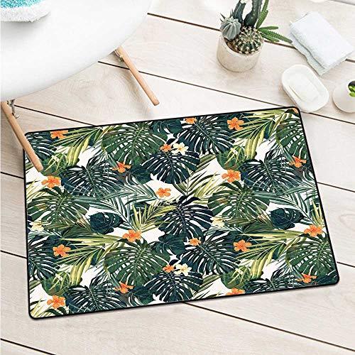 (Custom&blanket Hawaii Universal Door Mat Colorful Palm Trees Tropical Plants with Botanical Inspirations Machine Washable Door Mat (W29.5 X L39.4 inch,Fern Green Jade Green Orange))