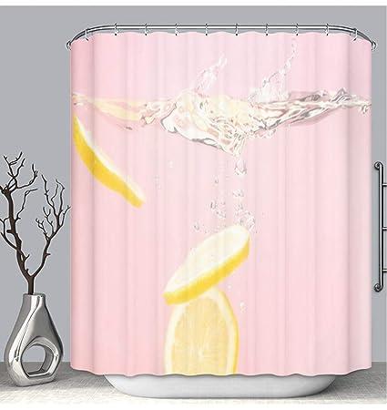 BEICICI Color Shower Curtain Liner Anti Mildew Antibacterial Splashing Lemons Custom Bathtub Bathroom