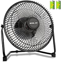OPOLAR Biggest Battery Operated Desk Fan with TWO batteries, Rechargeable USB Fan with 9 Inch Metal Frame, Enhanced Airflow, Lower Noise, Two Speeds, Personal Cooling Fan for Home & Office & Hurricane