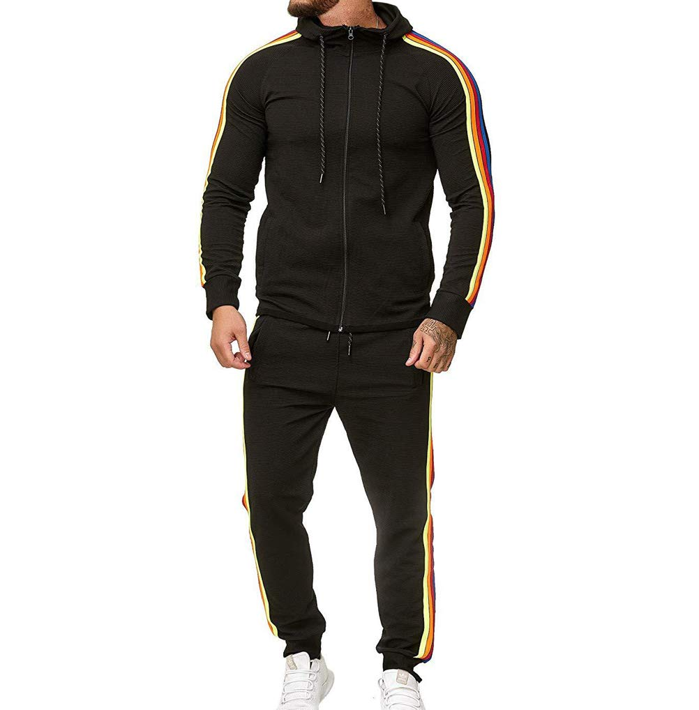 Men's Tracksuit Set Camouflage Sweatshirt Jogger Sweatpants Solid Patchwork Warm Sports Suit (Rainbow-Black, XXXL) by lisenraIn