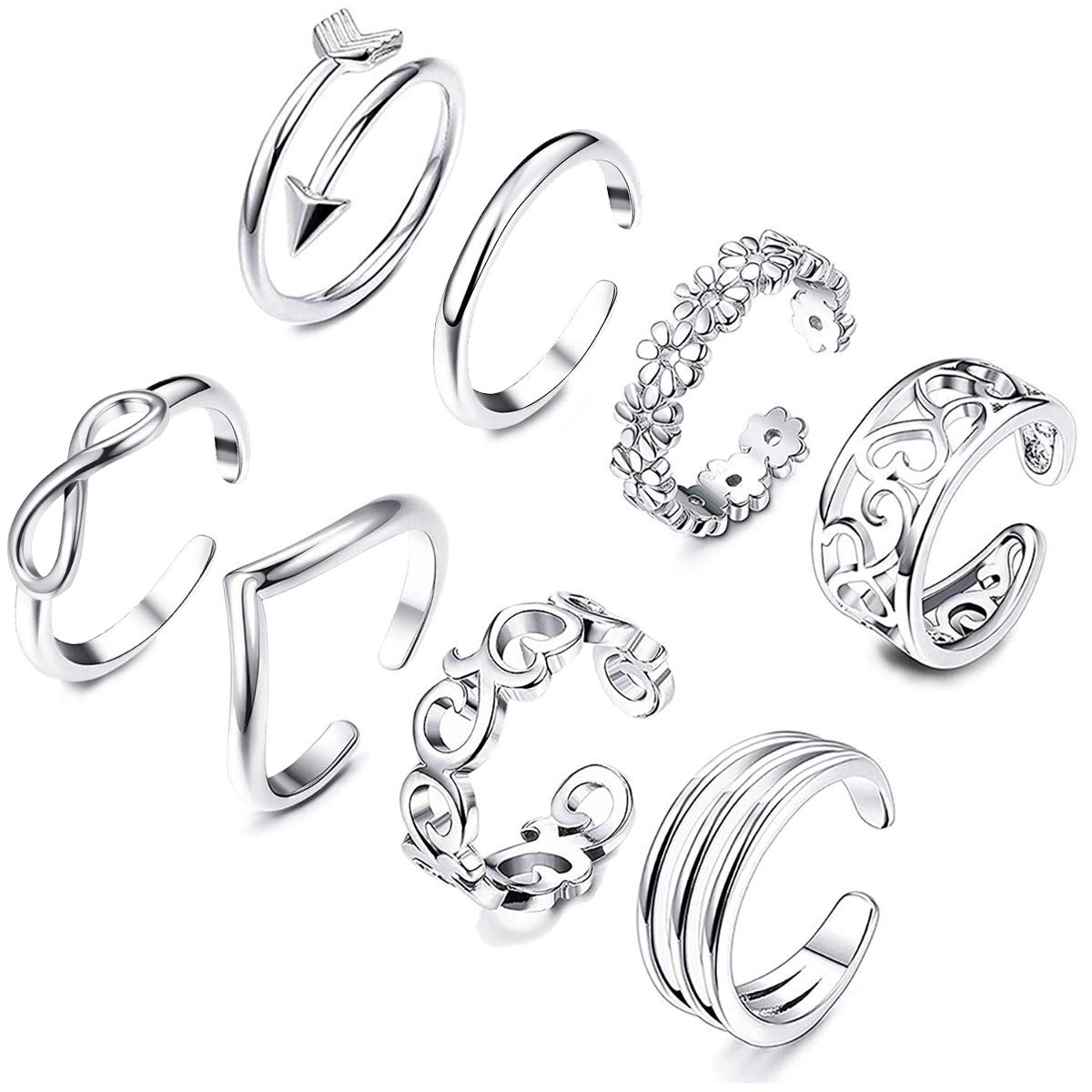 KOHOTA 8PCS Open Toe Rings Set for Women Hypoallergenic Adjustable Flower Knot Simple Arrow Fingers Joint Tail Ring Band Sandals Foot Jewelry
