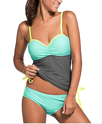 d6d8050d287 Tomlyws Womens Summer Colorblock Underwired Tankini Top and Bottom Set  Swimsuit Grey S