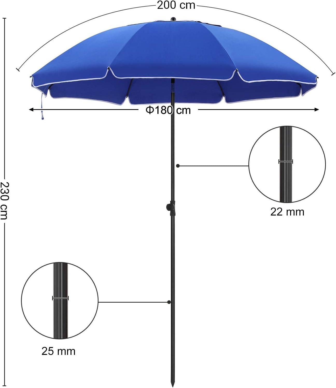 200 cm Taupe GPU65BRV1 Garten knickbar Balkon mit Tragetasche Schwimmbad achteckiger Strandschirm aus Polyester Sonnenschutz Schirmrippen aus Glasfaser SONGMICS Sonnenschirm