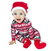 Clearance! Paymenow Infant Baby Boys Girl Christmas Cartoon Letter Print Long Sleeve Romper Jumpsuit Outfits (6M, Red)