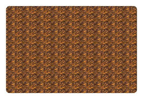 Ambesonne Tribal Pet Mat for Food and Water, Tiger Skin with Stripes and Warm Toned Background Motifs from African Culture, Rectangle Non-Slip Rubber Mat for Dogs and Cats, Orange and Black
