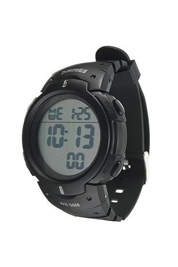 Reloj de pulsera - SKMEI Reloj de pulsera de LED luz digital impermeable de alarma y fecha regalo de deporte para hombre y mujer blanco: Amazon.es: Relojes