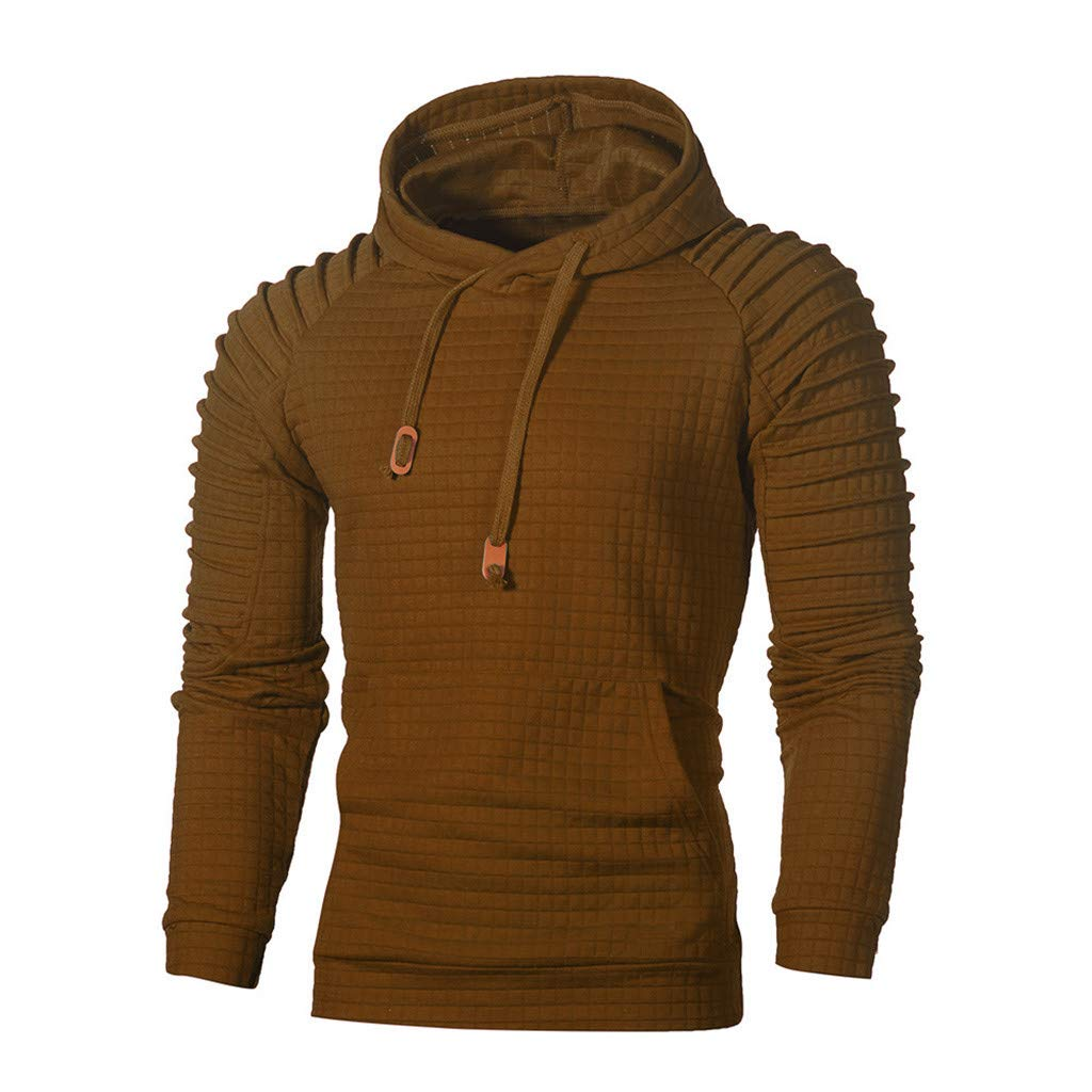 Beautyfine Men's Autumn Hoodie Hooded Sweatshirt Long Sleeve Plaid Top Fashion Tee Outwear Blouse (XXXXX-Large, Coffee)