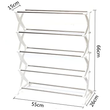 034ece5f1 J Go 5 Tier Foldable Stainless Steel Shoe Rack 16 Pair  Amazon.in  Home    Kitchen