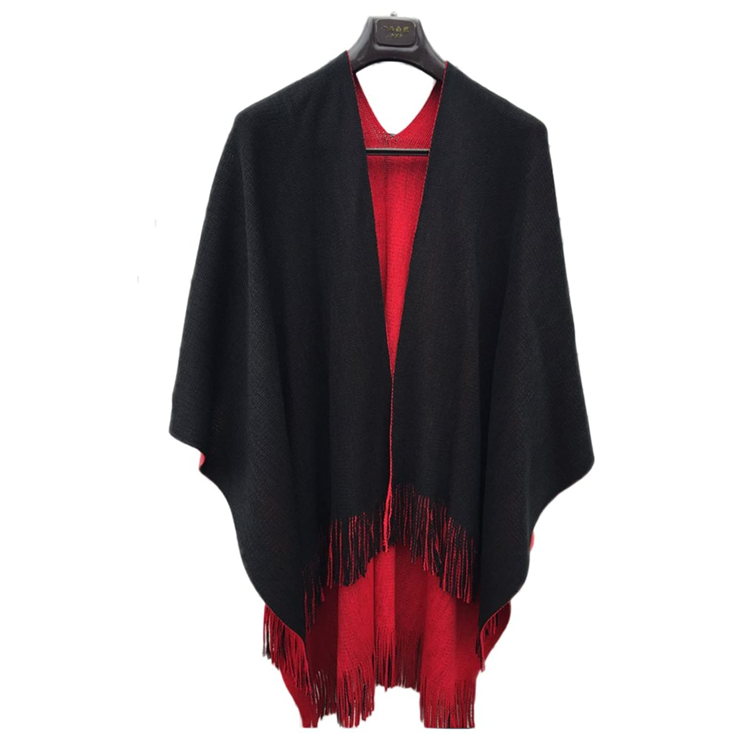 SZTARA Women Double-sided Scarf Cape Shawl Cloak with Tassel for Winter Autumn Spring Black and Red