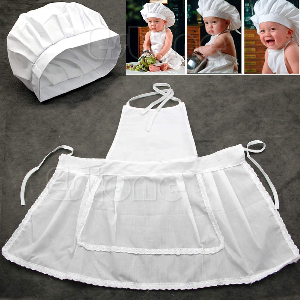 Baby Chef Apron Hat For Kids Costume Photo Cotton Cook Prop Newborn 0-1Year