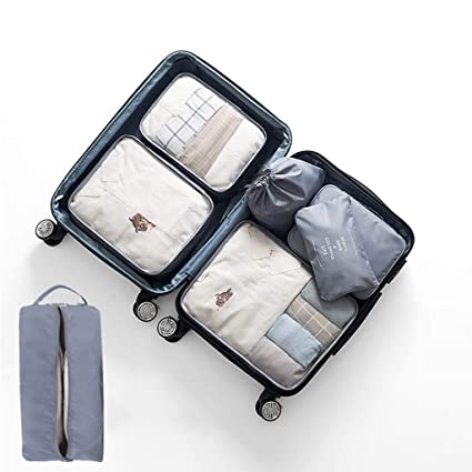 29152b18f176 Travel Storage Bag Organizer Set of 7, Luggage Sorting Bag Clothing ...