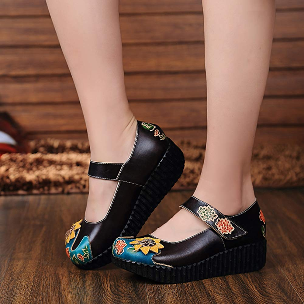 - Leather Sandals,Women's colorful Backless Slippers Flowers Leather Vintage Boho Platform Flat Sandals,Darkbrown,7MUS