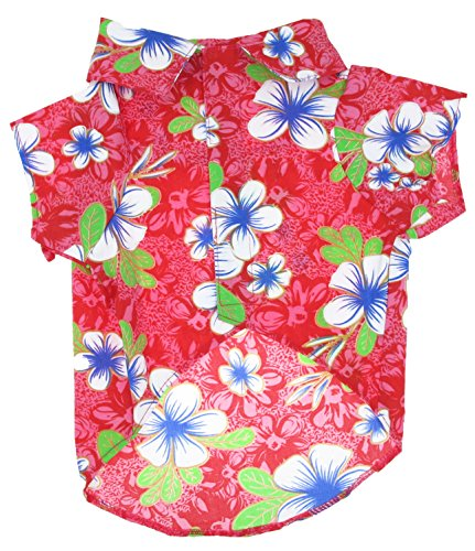 Casual Hawaiian Beach Red Floral Dog Shirt Cloth For Cat ...