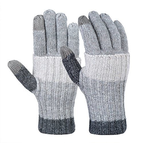 Vbiger Women Winter Gloves Warm Long Knit Gloves Fashionable Outdoor Windproof Full-finger Mittens (Light Grey)
