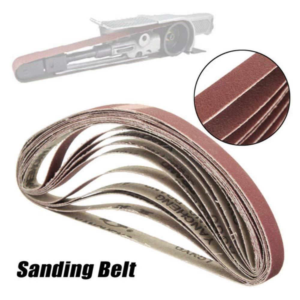 Lifreer 10pcs 10x330mm 60 /à 600 Grit ceinture de pon/çage pour les machines /à courroie affleurante Polissage Grind Machine