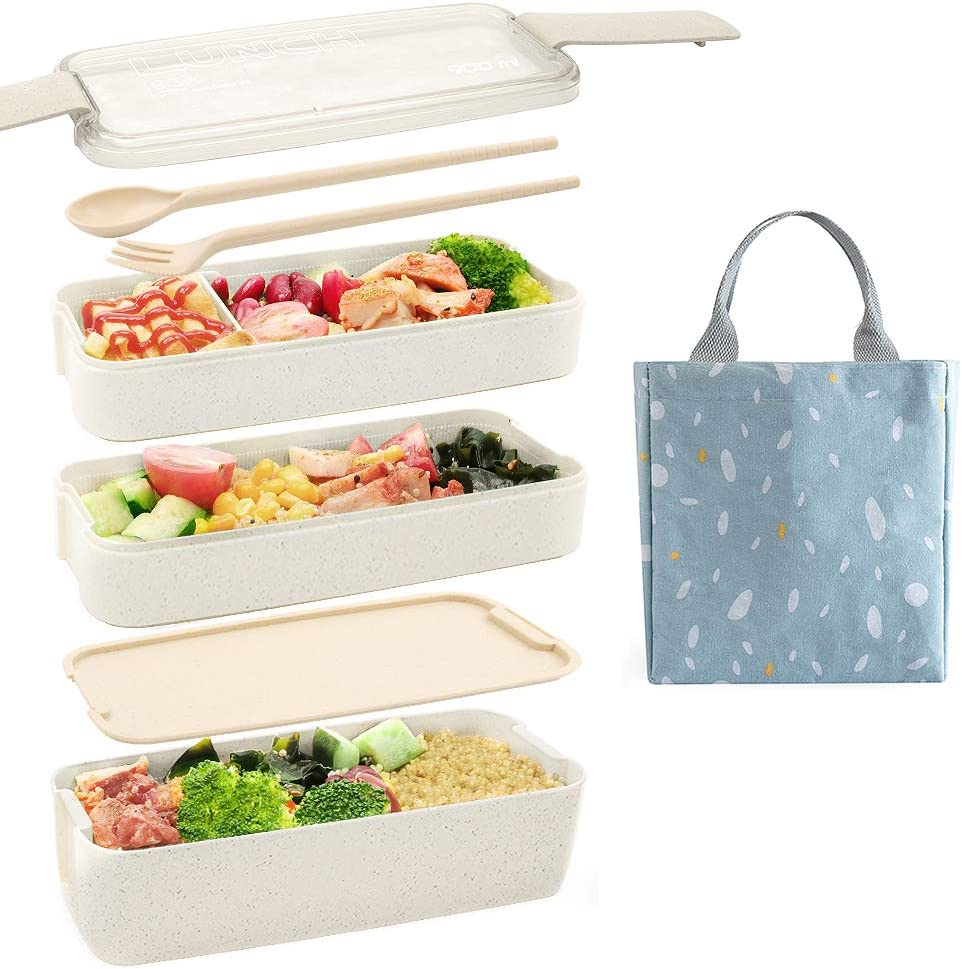 Ozazuco Bento Box Japanese Lunch Box,3-In-1 Compartment - Wheat Straw, Leakproof Eco-Friendly Bento Lunch Box Meal Prep Containers for Kids & Adults (Beige)