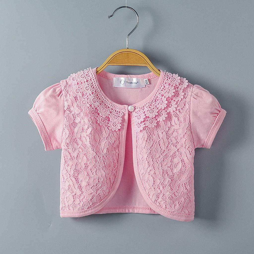 HEETEY Kinder T-Shirt Sommer Oberteile Kleinkind scherzt Baby-kleine M/ädchen Spitzen Prinzessin Bolero Cardigan Achselzucken Tops Kleidung Kurz/ärmliger Prinzessinnen-Cardigan