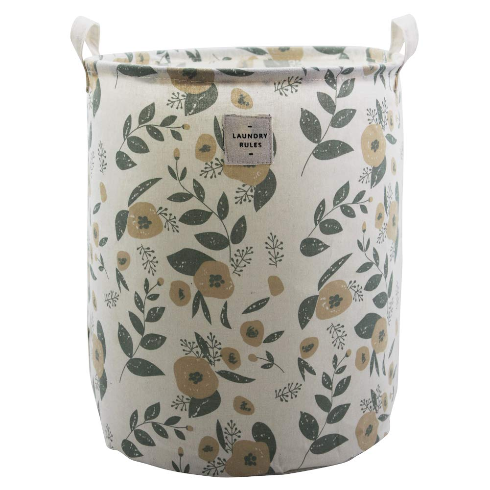 Large Fabric Storage Bins Toys Storage Basket for Baby Nursery, Kids Playroom, Home Organizer, Collapsible Laundry Basket Hamper with Floral Pattern (Green Flowers)