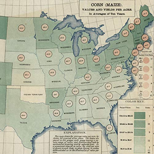 Corn Maize crop yields by state 1890 United States Agricultural color map