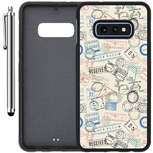 - Custom Case Compatible with Galaxy S10e (5.8 inch) (Postage Air Mail Pattern) Edge-to-Edge Rubber Black Cover Ultra Slim   Lightweight   Includes Stylus Pen by Innosub