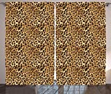 Cheap Ambesonne Brown Curtains Leopard Print, Animal Skin Digital Printed Wild African Safari Themed Spotted Pattern for Living Room Bedroom Decor, 108 W X 84 L Inches, 2 Panel Set Window Drapes Brown