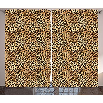 Amazon.com: Ambesonne Brown Curtains Leopard Print, Animal Skin Digital Printed Wild African