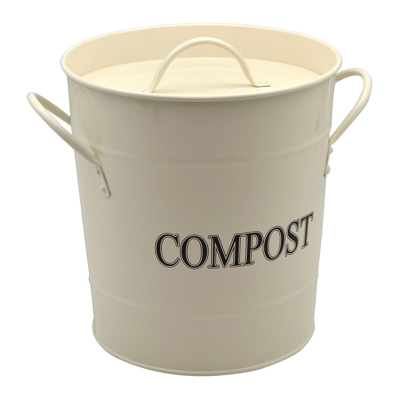 Harbour Housewares Metal Garden/Greenhouse Compost Bin - Cream