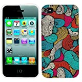 iPhone 4s Case Cute,iPhone 4 Case cool, ChiChiC full Protective unique Stylish Case slim flexible durable Soft TPU Cases Cover for iPhone 4 4g 4s,geometric colorful wave pattern gold ocean red pink