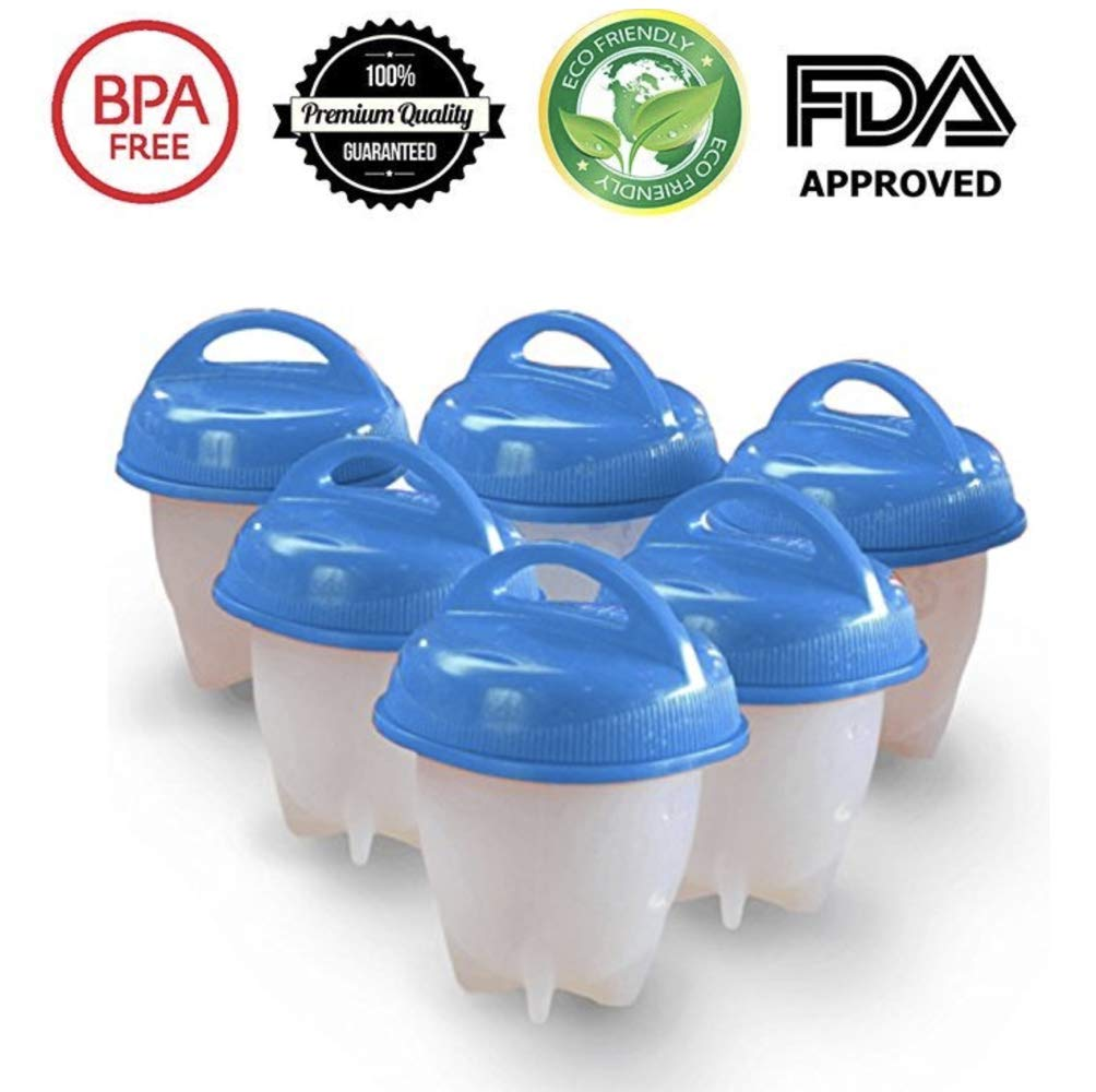 Silicone Egg Cooker, As Seen on TV, Hard and Soft without Shell Egg Boil, BPA free, 6 pack, Egg Separator included (Blue)