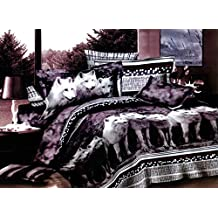 Swanson Beddings Wolves 3-Piece Bedding Set: Duvet Cover and Two Pillow Shams (King)