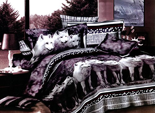 Swanson Beddings Wolves 3-Piece Bedding Set: Duvet Cover and