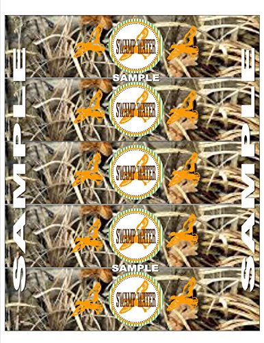 15 - Water Bottle Labels - Duck Dynasty Inspired Happy Birthday Collection - Max 4 Camo Background & Lime Green, Orange and Brown Accents - Party Packs Available